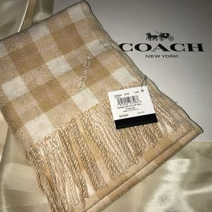 NWT Reversible Coach Wool Scarf & Gift Box Camel
